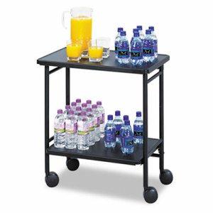 Folding Office/Beverage Cart, Two-Shelf, 25w x 15d x 30h, Black
