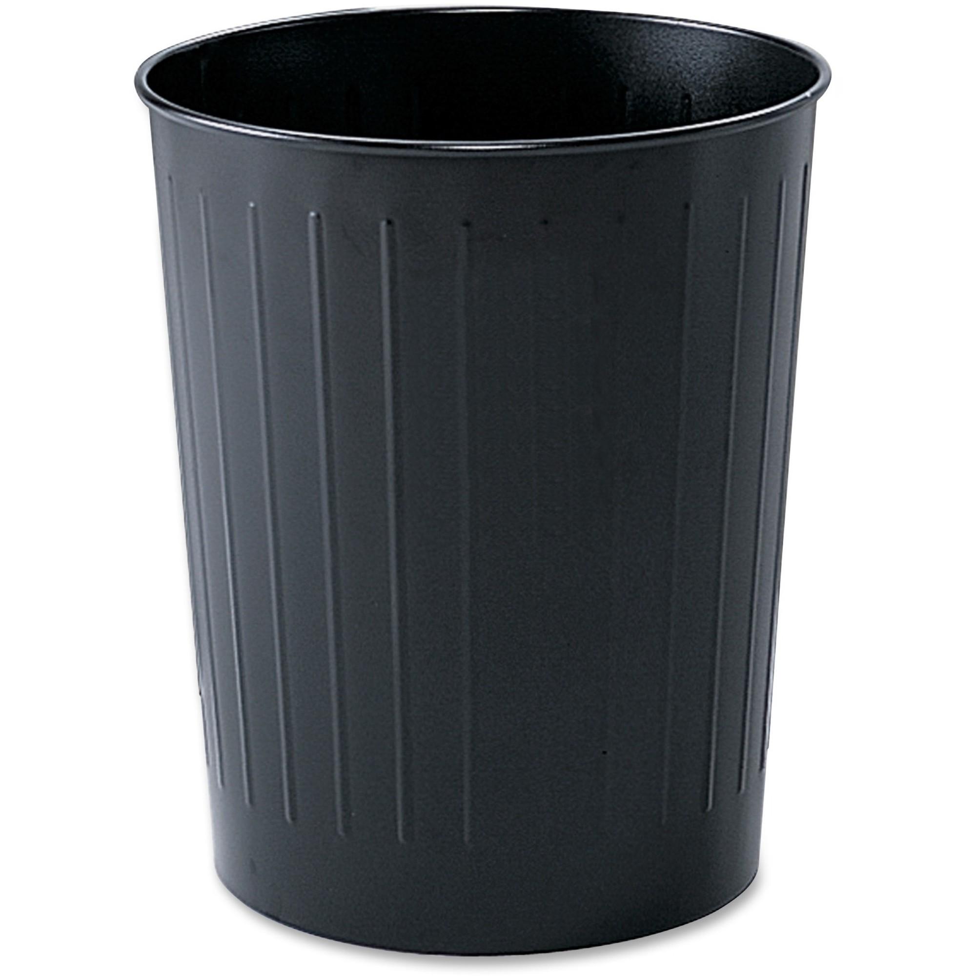 Round Wastebasket, Steel, 23.5qt, Black