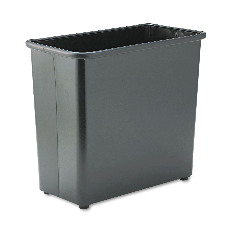 Rectangular Wastebasket, Steel, 27.5qt, Black