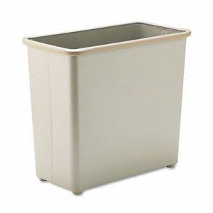 Rectangular Wastebasket, Steel, 27.5qt, Sand