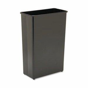 Rectangular Wastebasket, Steel, 22gal, Black