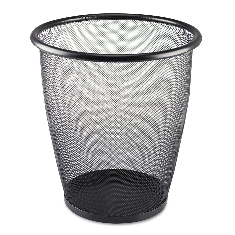 Onyx Round Mesh Wastebasket, Steel Mesh, 5gal, Black