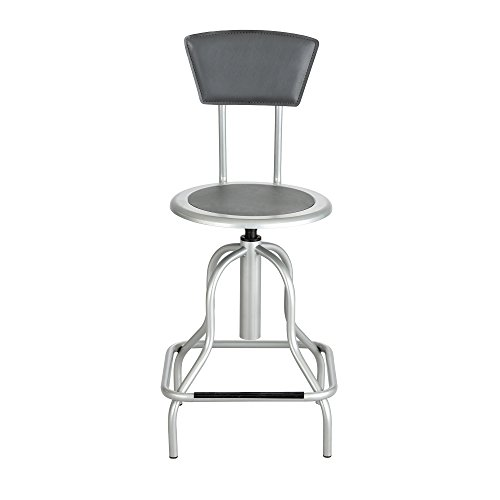 Diesel Series Industrial Stool w/Back, High Base, Silver Leather Seat/Back Pad