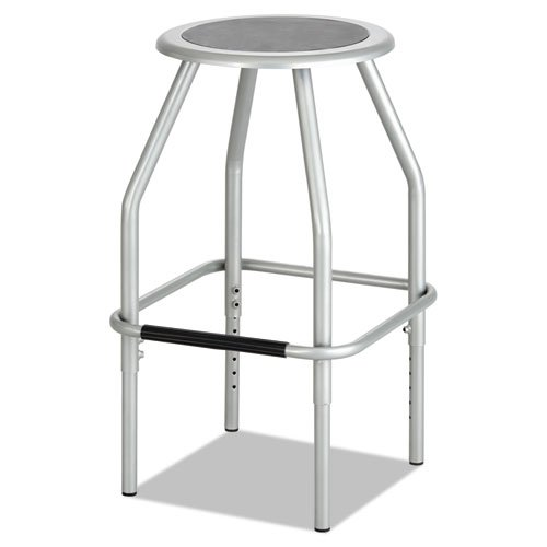 Diesel Series Industrial Stool, Stationary Padded Seat, Steel Frame, Silver