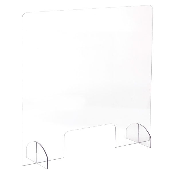 Portable Acrylic Sneeze Guard with Document Pass Through, 28.5 x 1.5 x 33.25, Acrylic, Clear