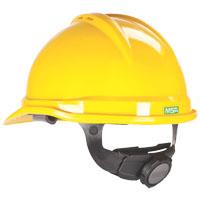 MSA 10034020 Vented Hard Hat, 6-1/2 - 8 in, Front Brim, Slotted, Cap Brim, Polyethylene, Yellow