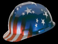 V-Gard 10052945 Patriotic Hard Hat, 6-1/2 - 8 in, Front Brim, Slotted, Cap Brim, Polyethylene