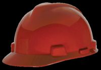 V-Gard 475363 Hard Hat, 6-1/2 - 8 in, Front Brim, Slotted, Polyethylene, Red
