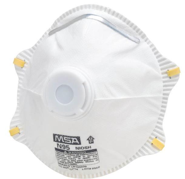 MSA 10103825 Heavy Duty Dust Respirator With Exhalation Valve, N95, 95 %