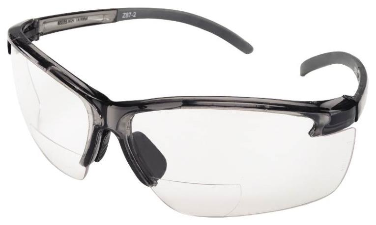MSA 10061648 Bi-Focal Safety Glasses, 2.0, Clear Lens, Black Frame