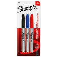 Sharpie 30173 Pen Style Fine Point Permanent Marker, 3 Pieces, Assorted