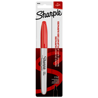 Sharpie 30102 Permanent Marker, Red, Fine, Liquid, Alcoholic