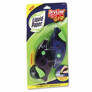 "DryLine Grip Correction Tape, 1/5"" x 335"", Blue/Purple Dispensers, 2/Pack"