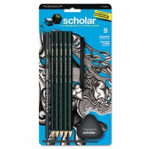 Scholar Erasable Colored Pencil Set, 4B/4H/2B/2H/6B, 9 Assorted Colors/Set