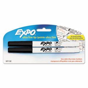 Low-Odor Dry-Erase Marker, Ultra Fine Point, Black, 2/Pack