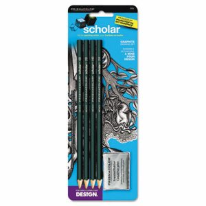 Scholar Graphite Pencil Set, 4B/2B/HB/2H, Kneaded Eraser