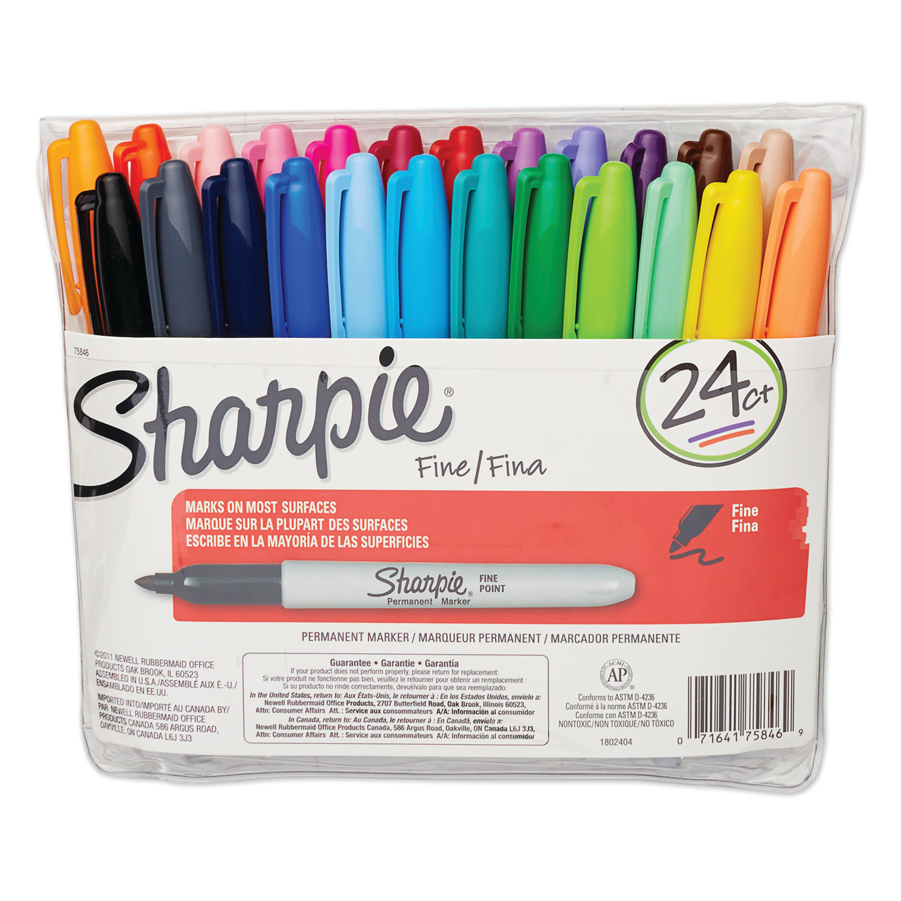 Fine Point Permanent Marker, Assorted, 24/Set