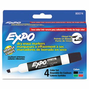 Low Odor Dry Erase Marker, Chisel Tip, Basic Assorted, 4/Set
