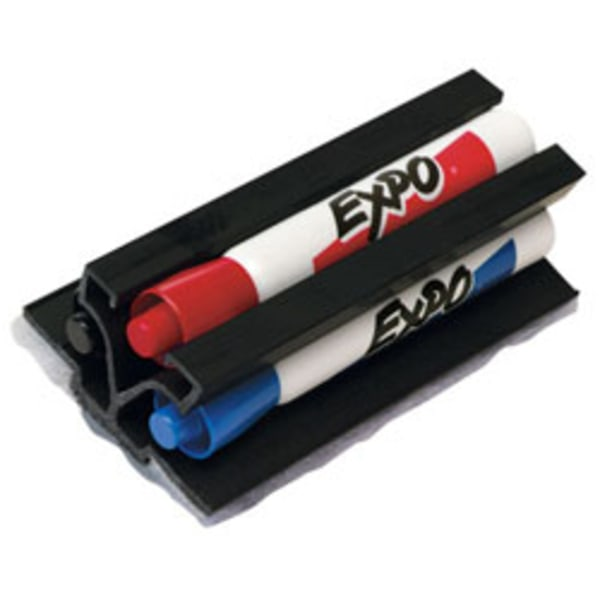 Magnetic Clip Eraser w/3 Markers, Chisel, Black/Blue/Red, 1 Set