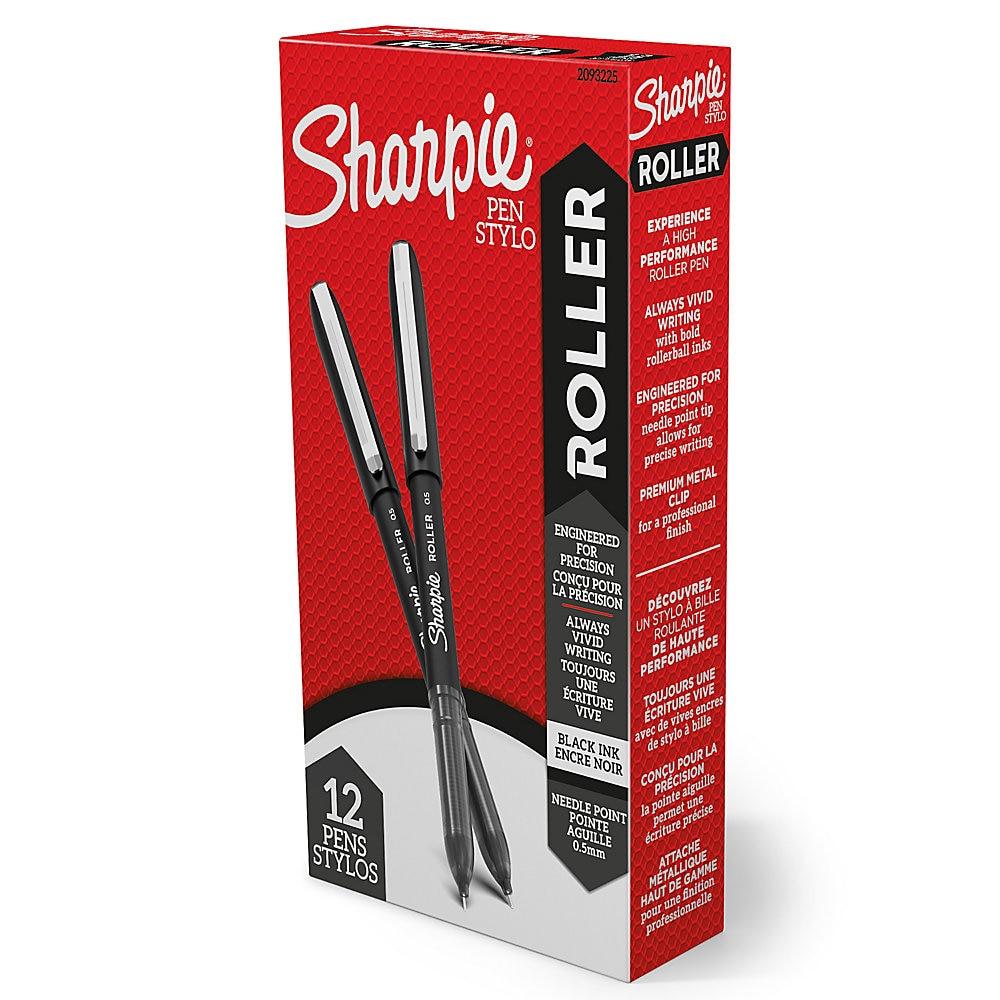 Roller Ball Stick Pen, Fine 0.5 mm, Black Ink/Barrel, Dozen