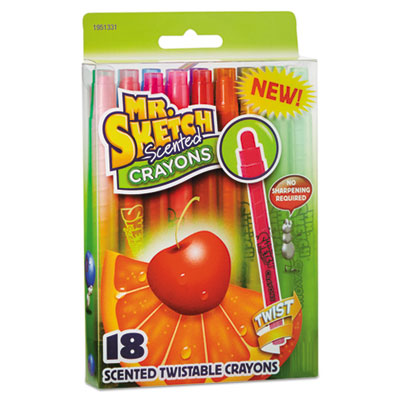 Scented Crayons, Gel, Assorted, 18/Pack