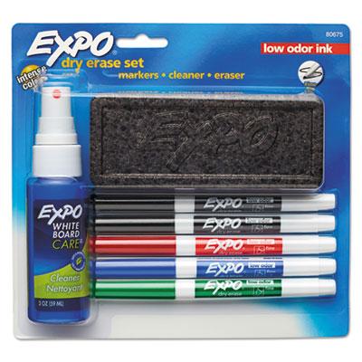 Dry Erase Marker, Eraser & Cleaner Kit, Fine Bullet Tip, Assorted Colors, 5/Set