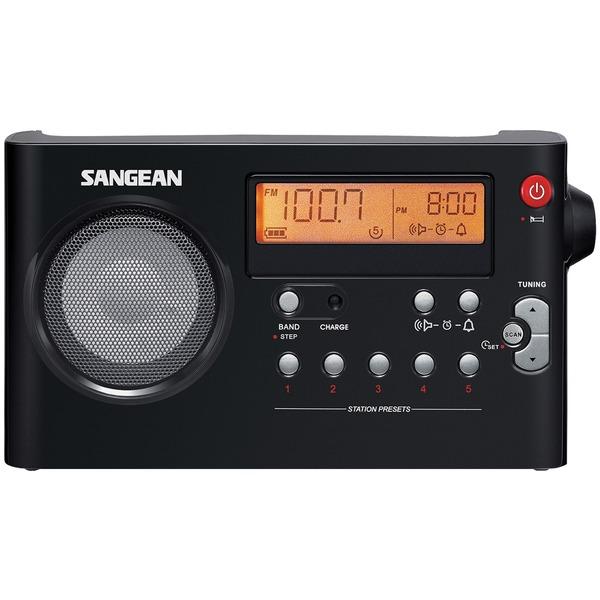 Sangean PR-D7BK AM/FM Digital Rechargeable Compact Portable Clock Radio