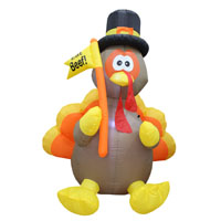 INFLATABLE 6FT TURKEY W/FLAG