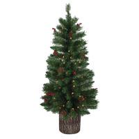 TREE PRELIT CLR W/LOG BASE 4FT