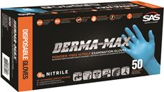SAS SAFETY� DERMA-MAX� DISPOSABLE POWDER-FREE NITRILE GLOVES, MEDIUM, BLUE, 8 MIL, 50 GLOVES PER BOX