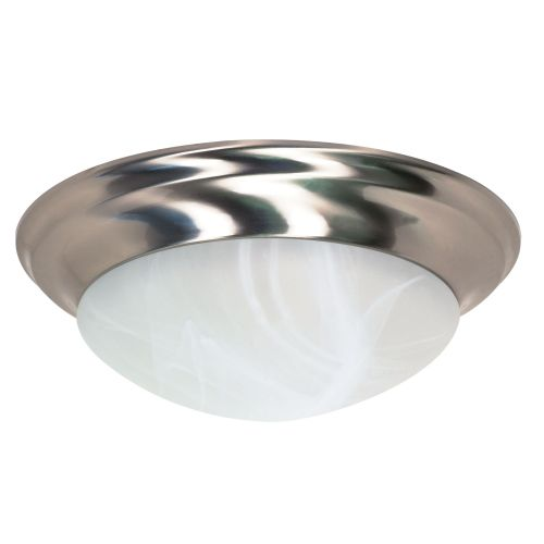 FLUSH MOUNT THREE LIGHT 17 IN.  BRUSHED NICKEL WITH ALABASTER GLASS, INCANDESCENT