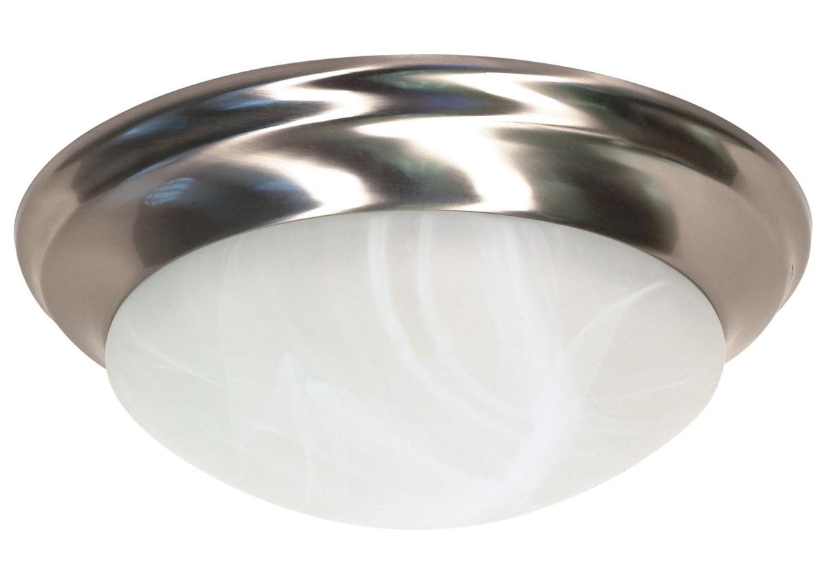 "14"" 2 Lights Fluorescent Flush Mount in Brushed Nickel and Alabaster Glass"
