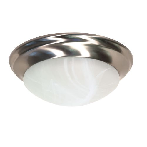 """14"""" 2 Lights Flush Mount Ceiling Fixture With Alabaster Twist-Lock Glass, Brushed Nickel"""