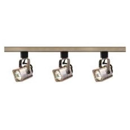 "NUVO� 3-LIGHT MR16 SQUARE TRACK LIGHTING FIXTURE, BRUSHED NICKEL, 48 X 3.75"", USES 3 50-WATT GU10 BASE LAMPS"