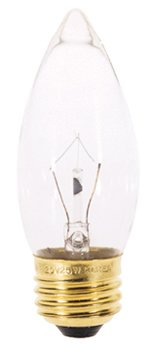 SATCO INCANDESCENT DECORATIVE LAMP B11, 25 WATT, 130 VOLT, MEDIUM BASE, CLEAR, 2,500 AVERAGE RATED HOURS,