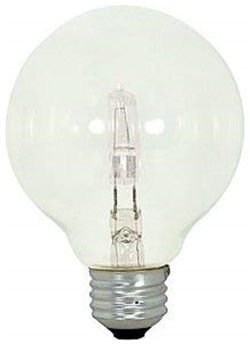 SATCO HALOGEN LAMP, G25 GLOBE, 43 WATTS, 120 VOLTS, MEDIUM BASE, CLEAR, DIMMABLE, 3 PER PACK