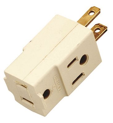 SATCO� VINYL CUBE OUTLET ADAPTER, 2 POLE, 3 WIRE, 15 AMPS, 125 VOLTS, IVORY
