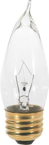 SATCO INCANDESCENT DECORATIVE LAMP CA10, 40 WATT, 130 VOLT, MEDIUM BASE, CLEAR, 2,500 AVERAGE RATED HOURS,