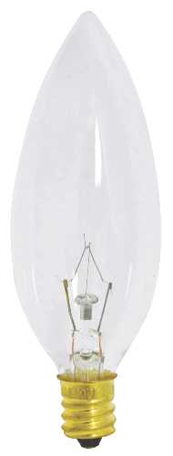 SATCO INCANDESCENT DECORATIVE LAMP BA9 1/2, 25 WATT, 130 VOLT, CANDELABRA BASE, CLEAR, 2500 AVERAGE RATED HOURS,