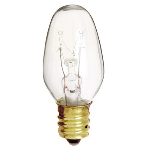 SATCO� INCANDESCENT NIGHT LIGHT LAMP, C7, 7 WATTS, 120 VOLTS, CANDELABRA BASE, CLEAR, 25 PER BOX