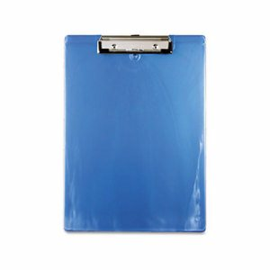 "Plastic Clipboard, 1/2"" Capacity, 8 1/2 x 12 Sheets, Ice Blue"