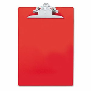 "Recycled Plastic Clipboards, 1"" Clip Cap, 8 1/2 x 12 Sheets, Red"
