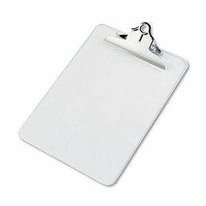 "Recycled Plastic Clipboards, 1"" Clip Cap, 8 1/2 x 12 Sheets, Clear"