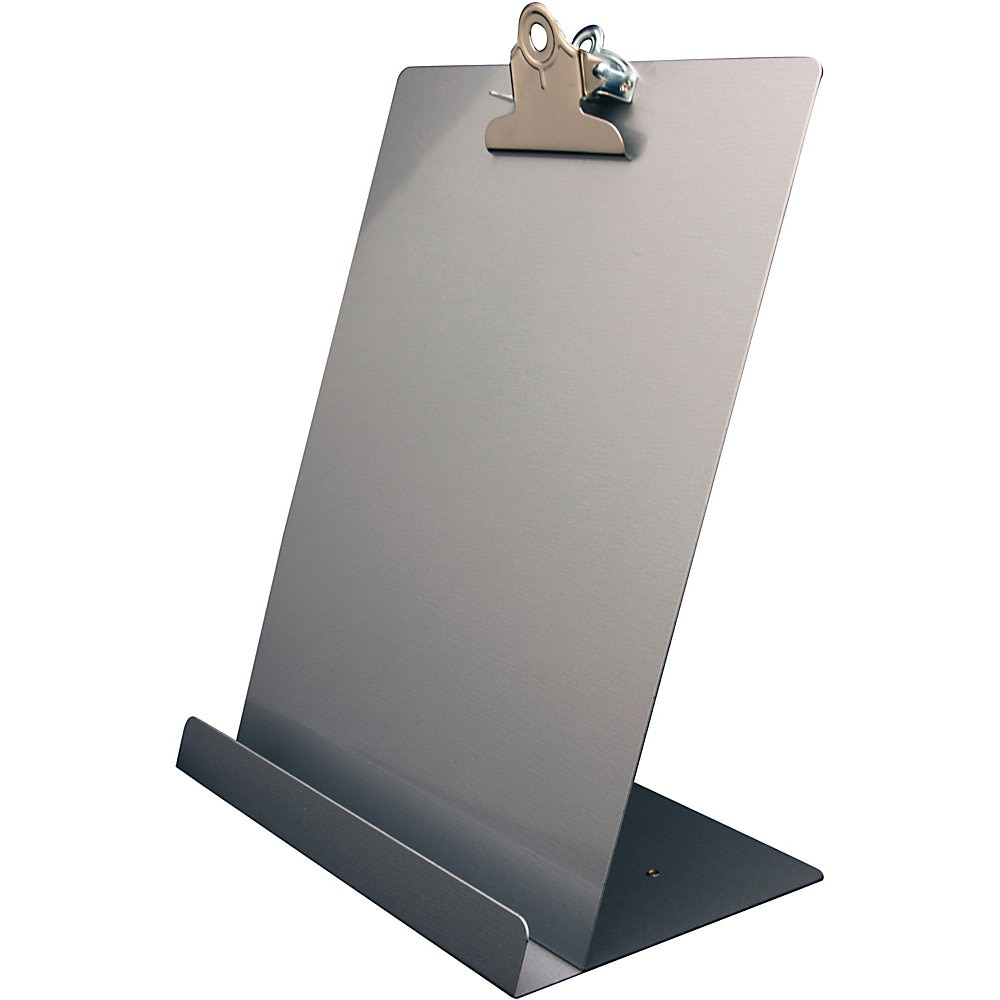 """Free Standing Clipboard and Tablet Stand, 1"""" Clip Capacity, Holds 8.5 x 11, Silver"""