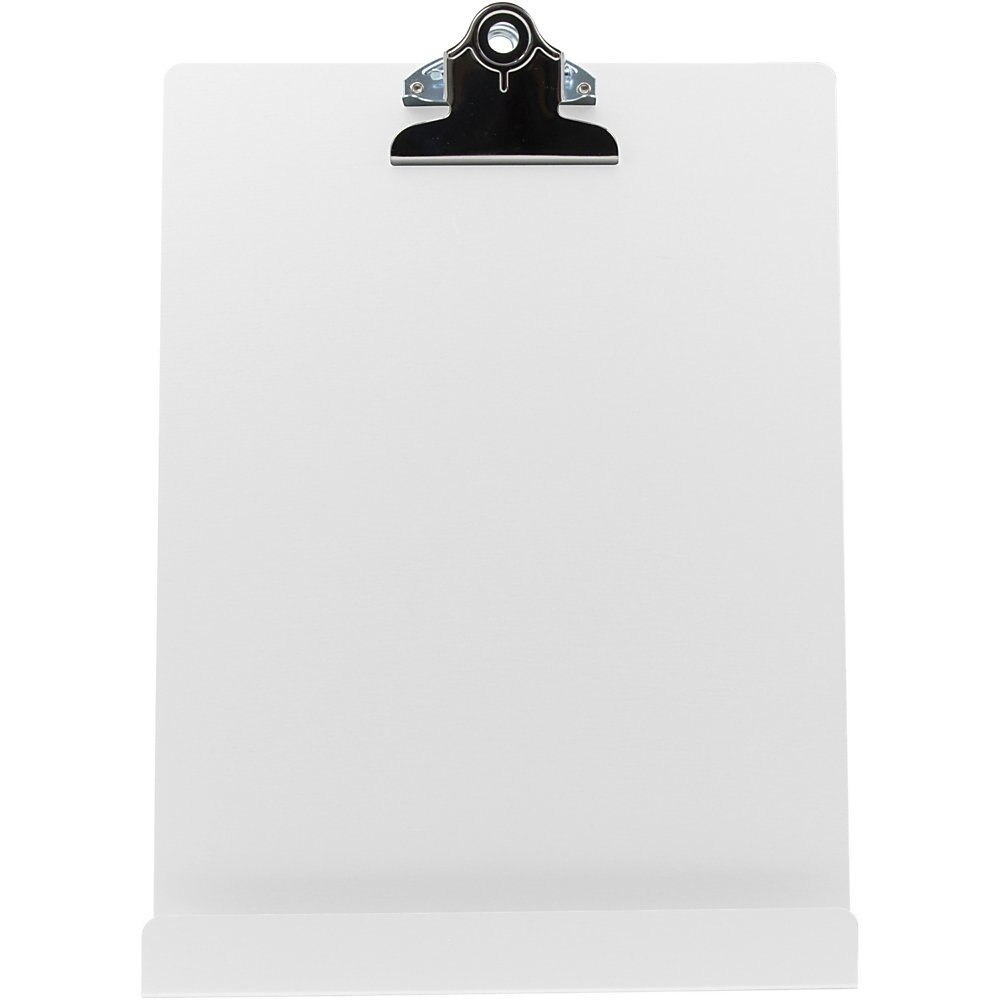 """Free Standing Clipboard and Tablet Stand, 1"""" Clip Capacity, Holds 8.5 x 11, White"""