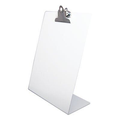 """Free Standing Clipboard, Portrait, 1"""" Clip Capacity, 8.5 x 11 Sheets, White"""