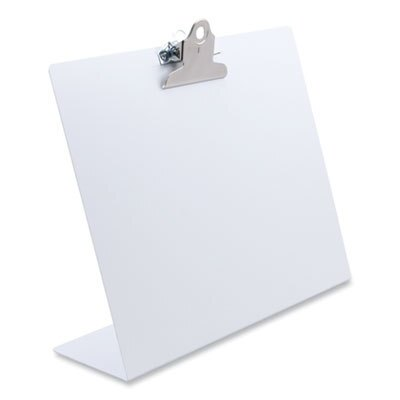 """Free Standing Clipboard, Landscape, 1"""" Clip Capacity, 11 x 8.5 Sheets, White"""