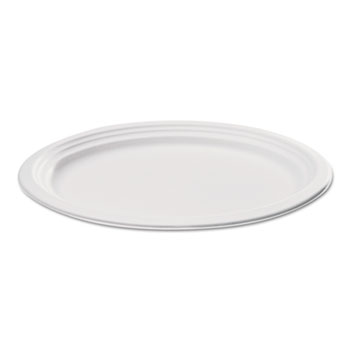 Compostable Sugarcane Bagasse Oval Plate, 9 x 6.5, White, 500/Carton