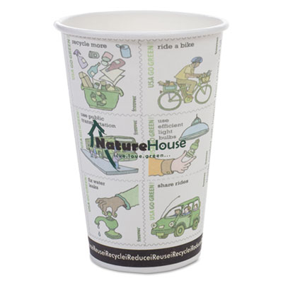 Compostable Insulated Ripple-Grip Hot Cups, 10oz, White, 25/Pack