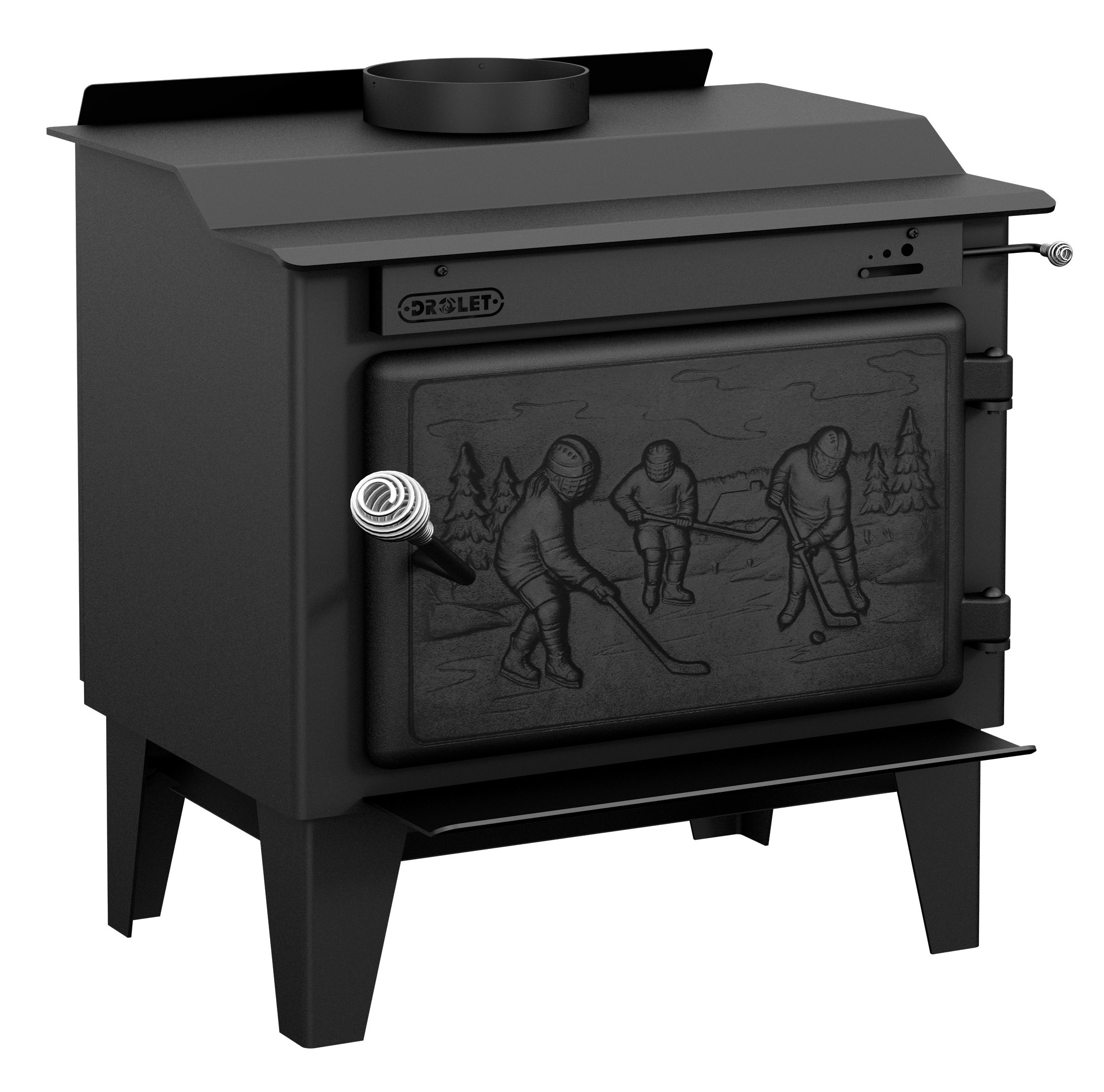 Wood Stove on Legs Model ROCKET - Small EPA wood Stove with Solid Cast Iron Door